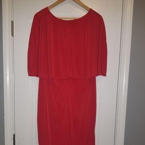 Ashley Stewart red off shoulder knee length dress